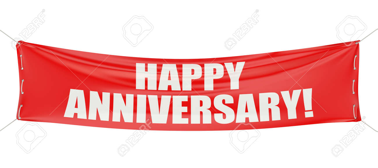 happy anniversary red banner isolated on white background stock
