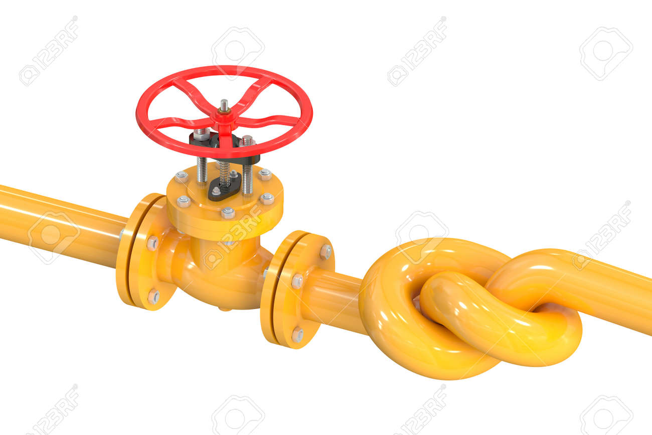 pipeline with a knot isolated on white background - 52310344