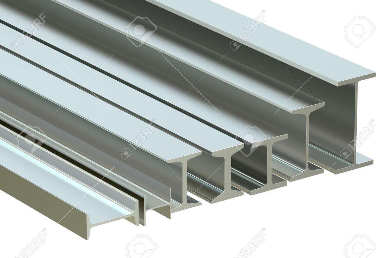 structural beams, steel rolled metal H-beam  3D rendering