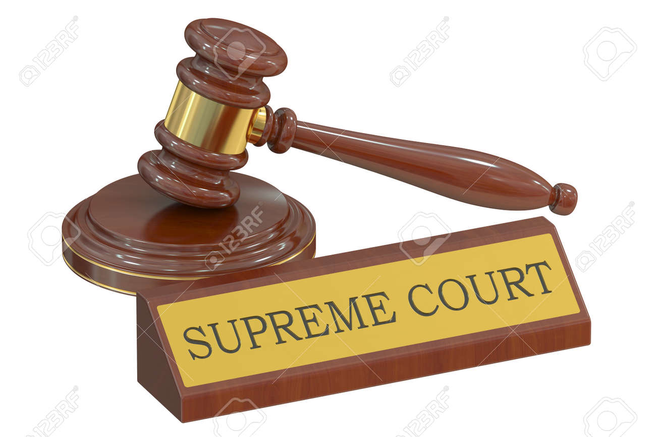 supreme court concept with gavel 3d rendering stock photo picture