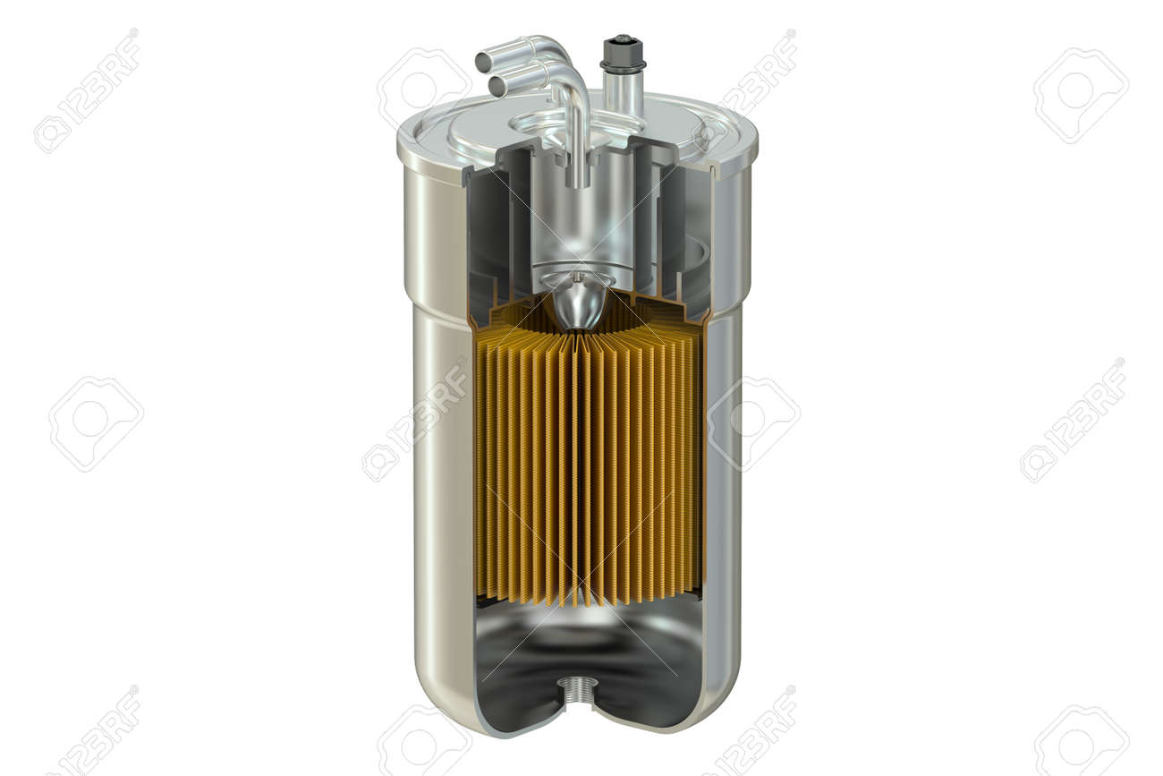 Fuel Filter cutaway, 3D rendering isolated on white background - 56507012