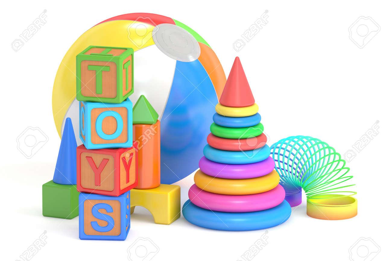 Concepto de juguetes para niños, representación 3D aislada en el fondo blanco