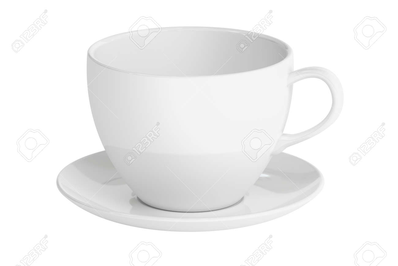 White cup and saucer, 3D rendering isolated on white background