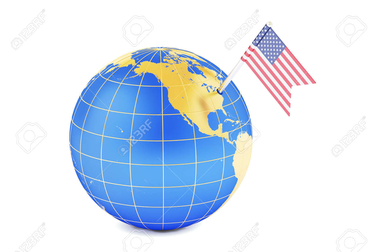 usa pin flag on globe map 3d rendering banco de imagens royalty