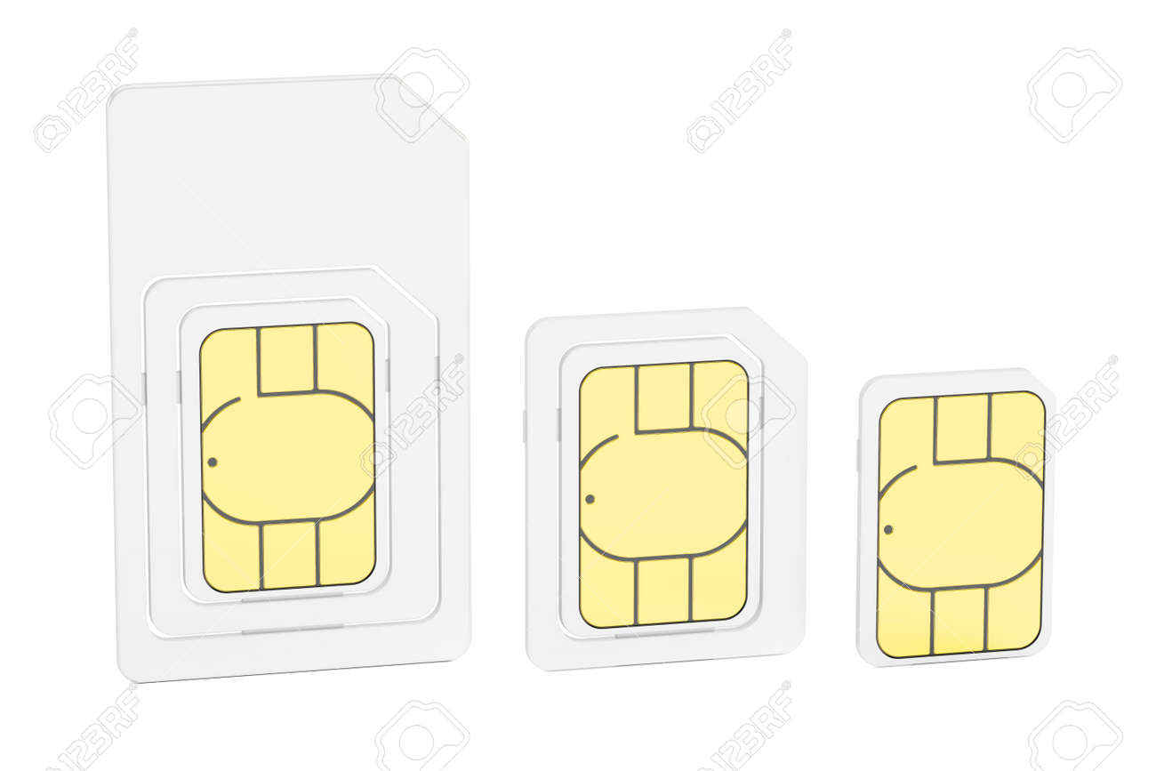 Mini Micro Nano Sim Cards 3d Rendering Isolated On White