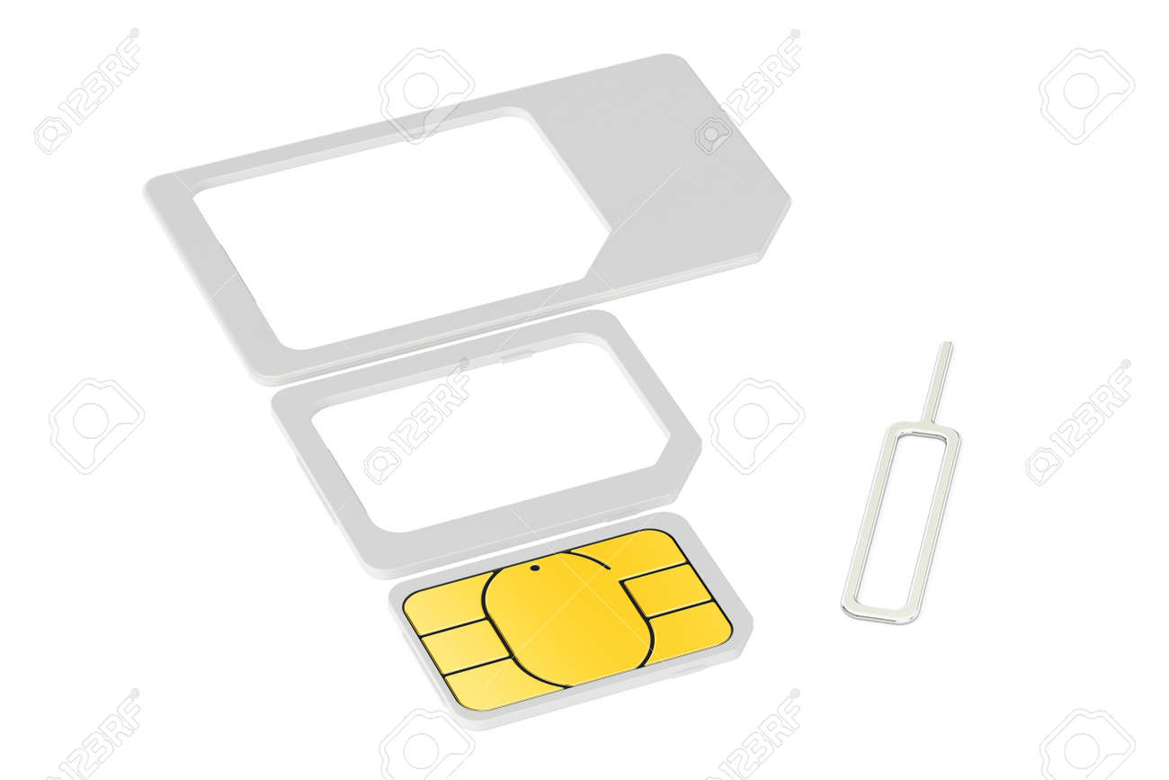 Mini Micro Nano Sim Cards With Eject Pin 3d Rendering Isolated