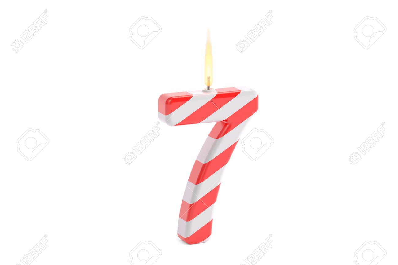 Birthday Candle With Number 7 3D Rendering Isolated On White Background Stock Photo