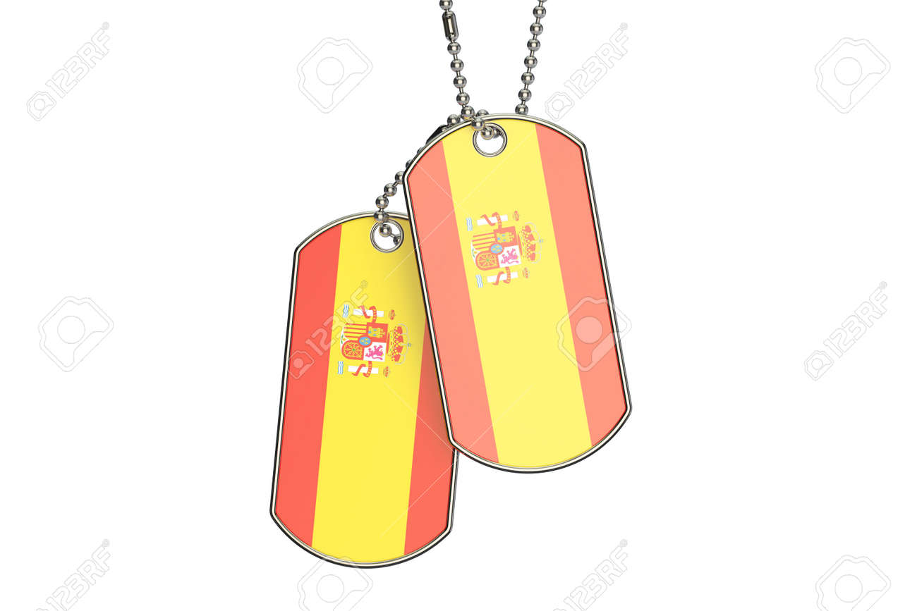 spanish dog tags, 3d rendering isolated on white background stock photo -  63495953