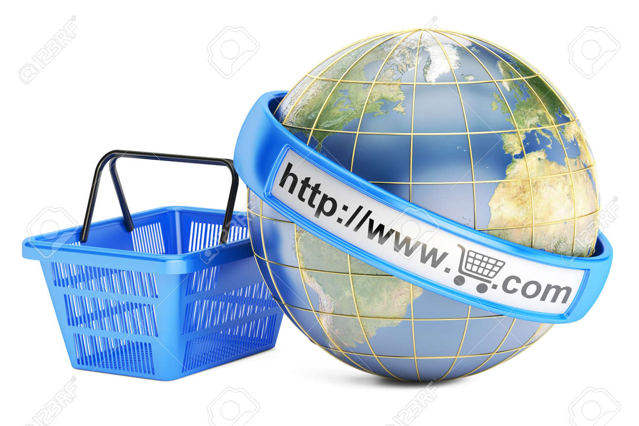 Shopping Basket With Globe, Online Shopping Concept. 3D Rendering.. Stock  Photo, Picture And Royalty Free Image. Image 64836916.