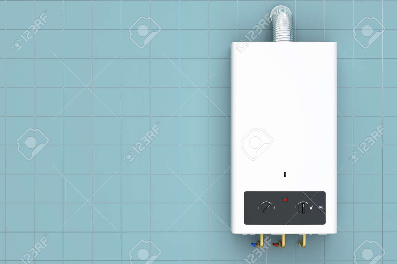 Home Gas Boiler, Water Heater. 3D Rendering Stock Photo, Picture And ...