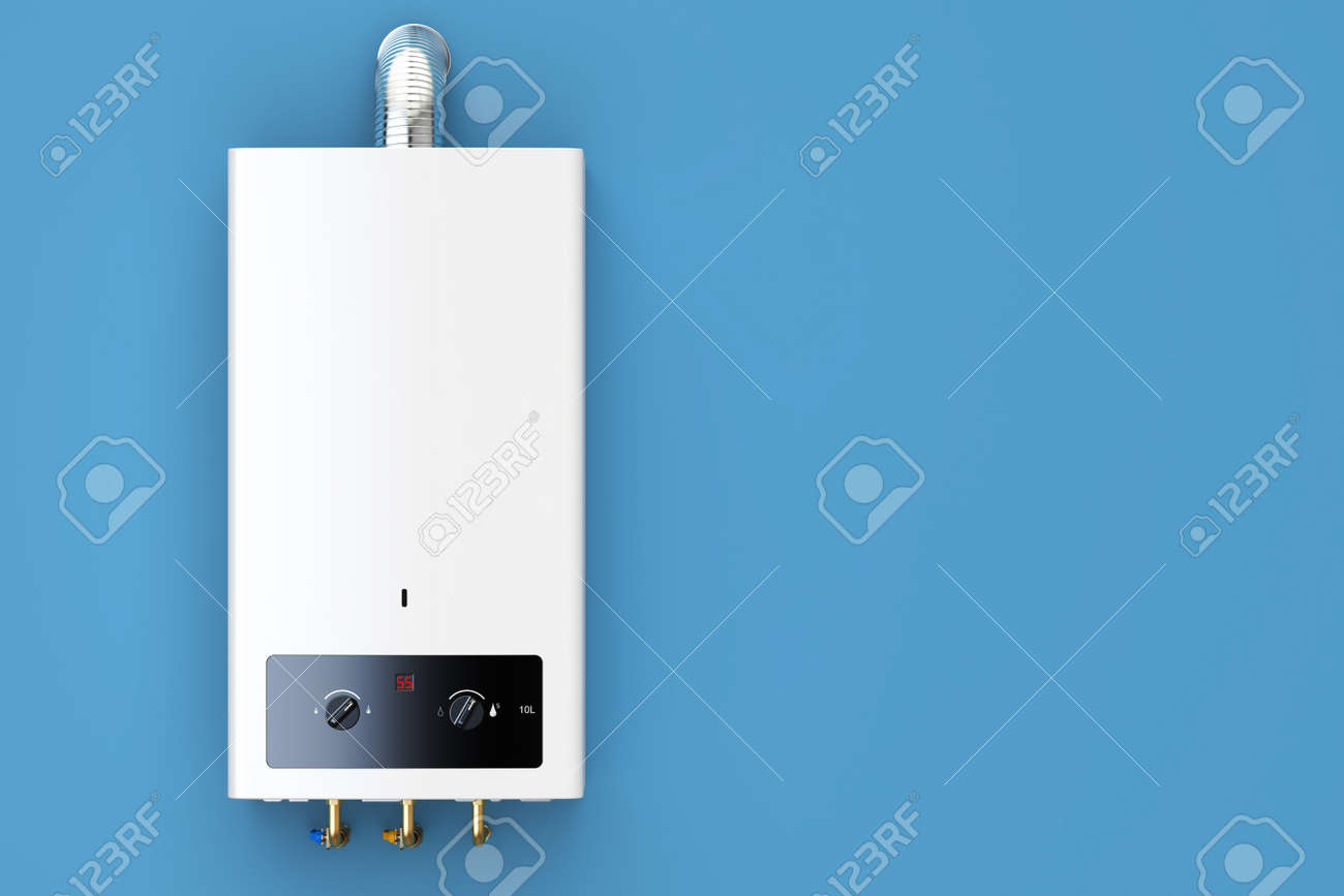 Home Gas Boiler, Water Heater. 3D Rendering Isolated On Blue.. Stock ...