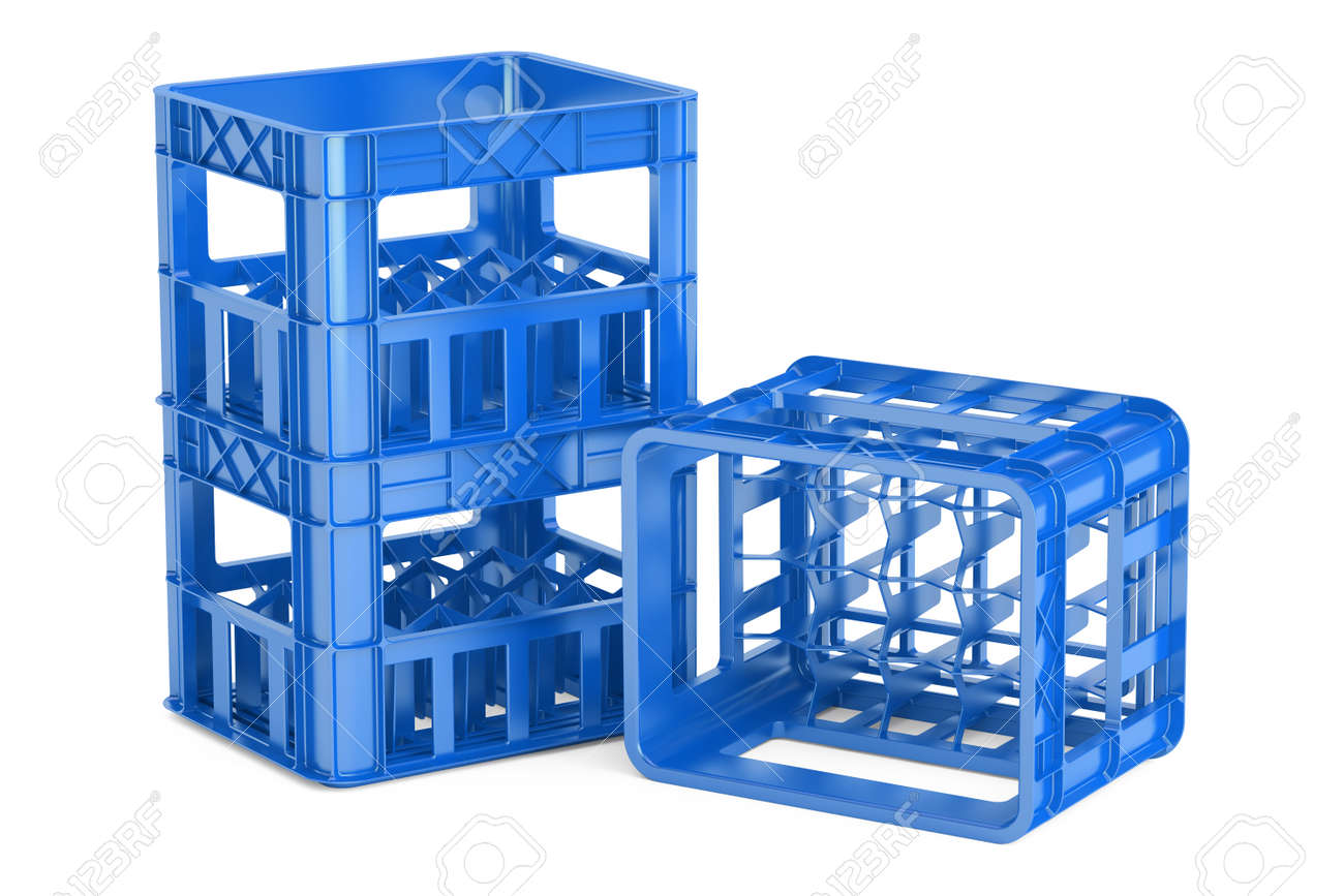 empty blue plastic storage boxes crates for bottles. 3D rendering isolated on white background  sc 1 st  123RF.com & Empty Blue Plastic Storage Boxes Crates For Bottles. 3D Rendering ...