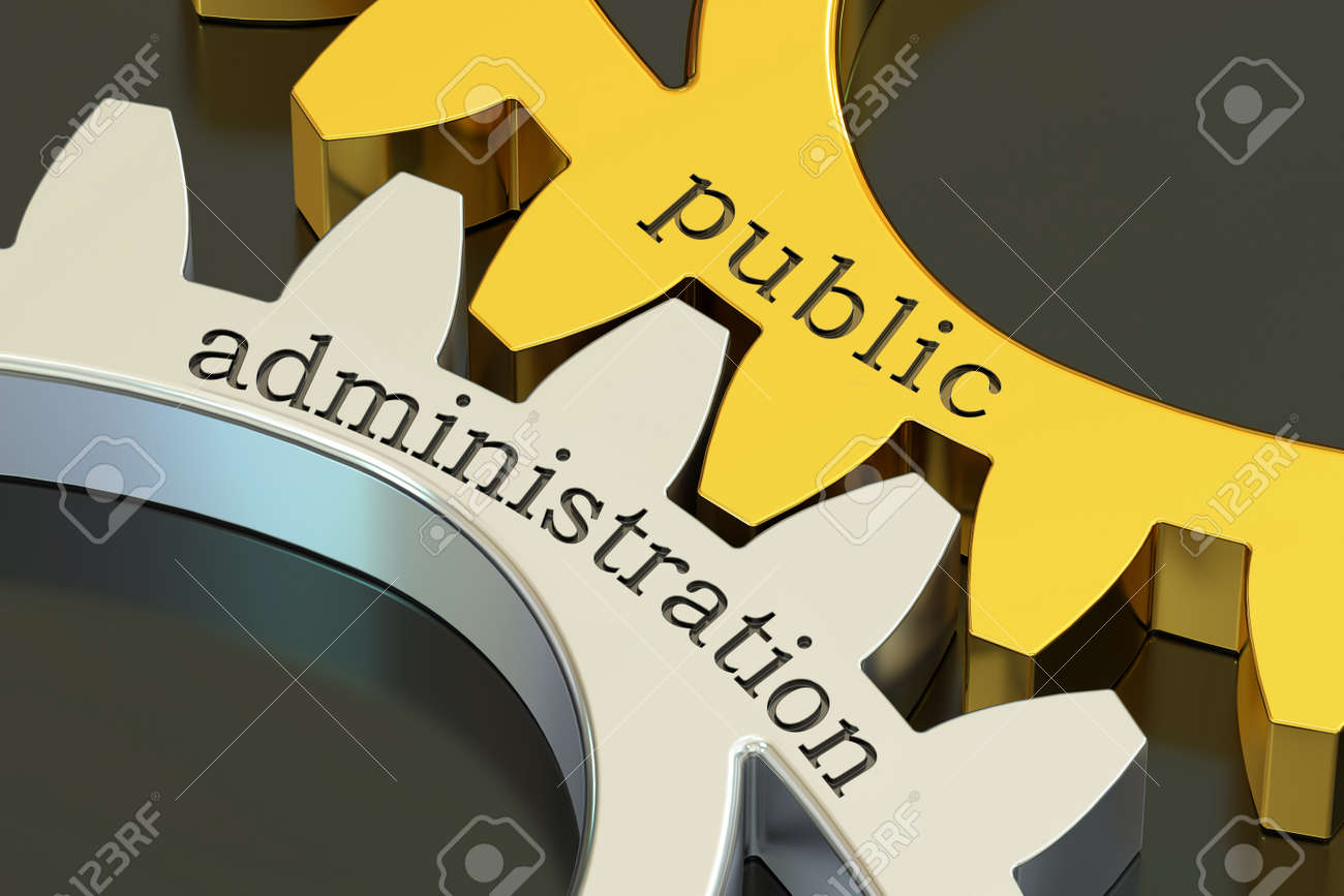 public administration concept on the gearwheels, 3D rendering - 68451807