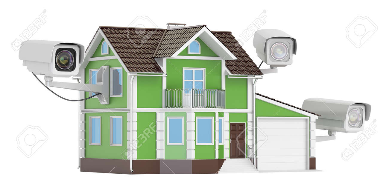 Security CCTV Cameras On The House, 3D Rendering Stock Photo   70056312