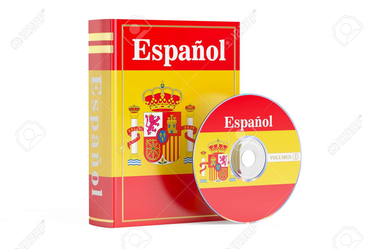 Livre Espagnol Avec Drapeau De L Espagne Et Disque Cd Rendu 3d Isole Sur Fond Blanc