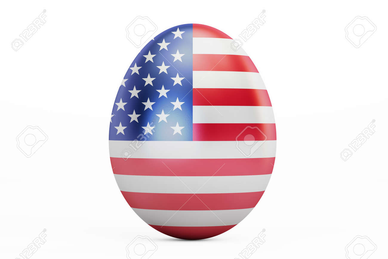 Easter egg with flag of USA, 9D rendering isolated on white background