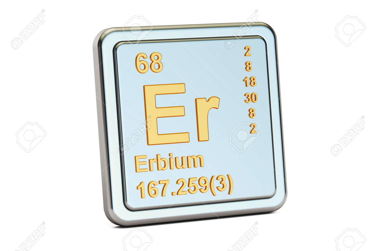 Erbium Er Chemical Element Sign 3d Rendering Isolated On White