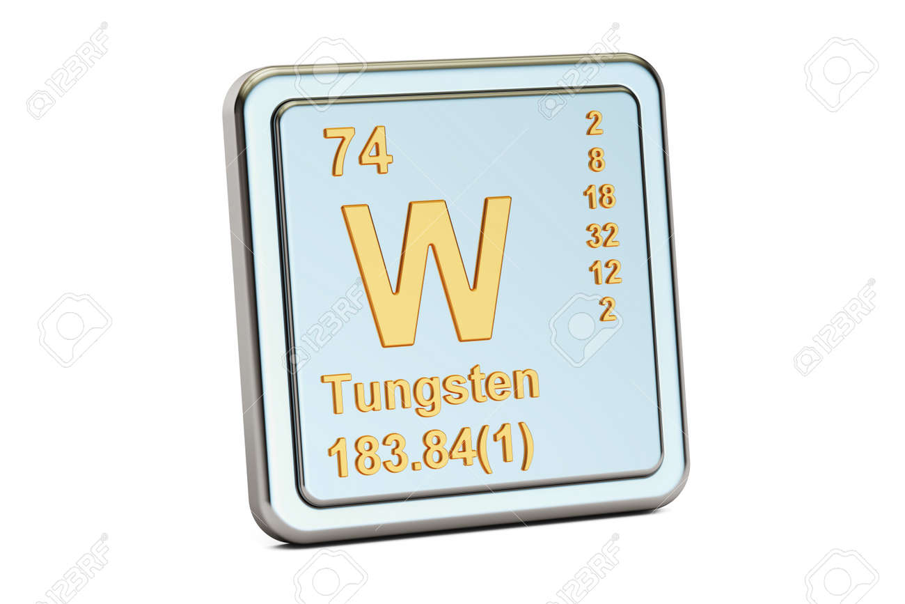 Tungsten W Wolfram Chemical Element Sign 3d Rendering Isolated