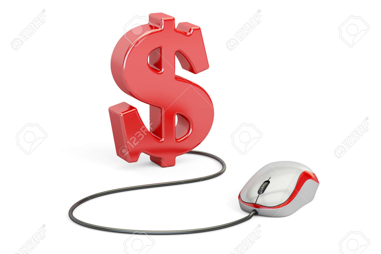 Dollar Symbol With Computer Mouse Make Money Online Concept