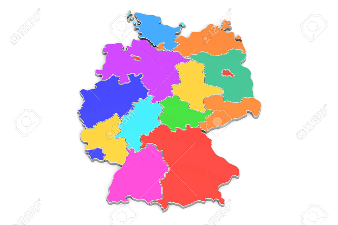 Map Of Germany 3d.Colored Map Of Germany 3d Rendering Isolated On White Background