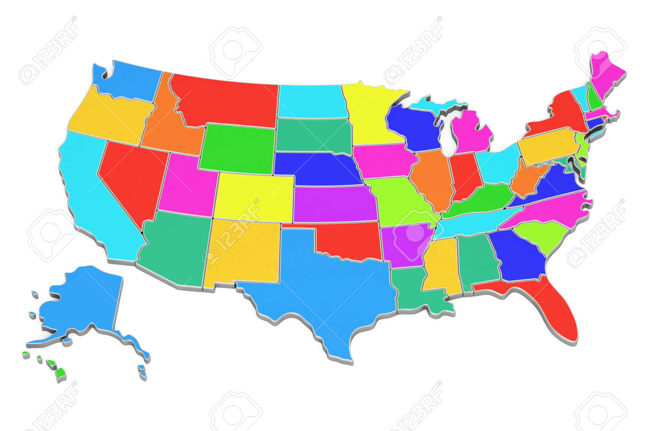 Colored United States of America map, 3D rendering isolated on..