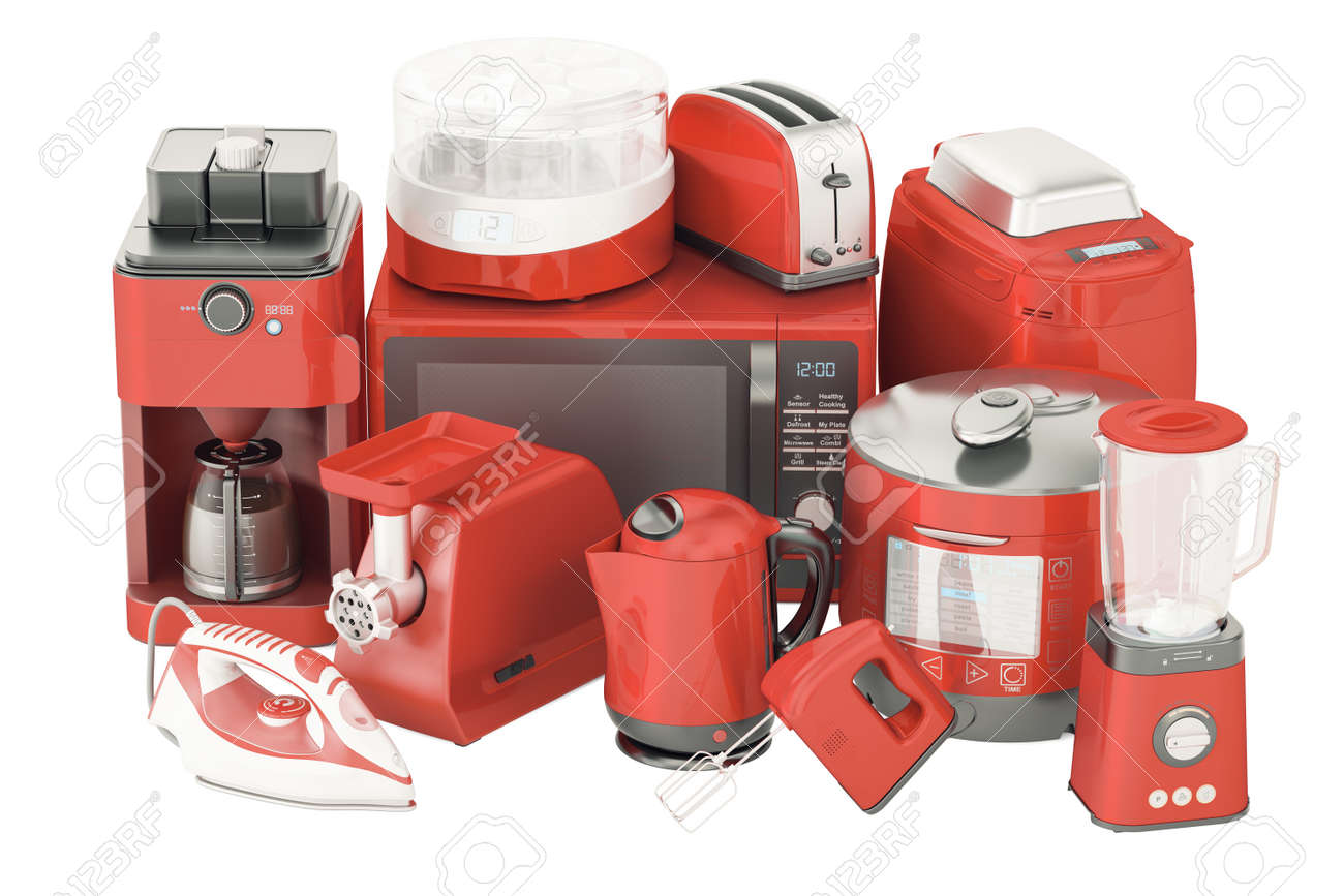 Set Of Red Kitchen Home Appliances. Toaster, Kettle, Coffeemaker, Iron,  Microwave