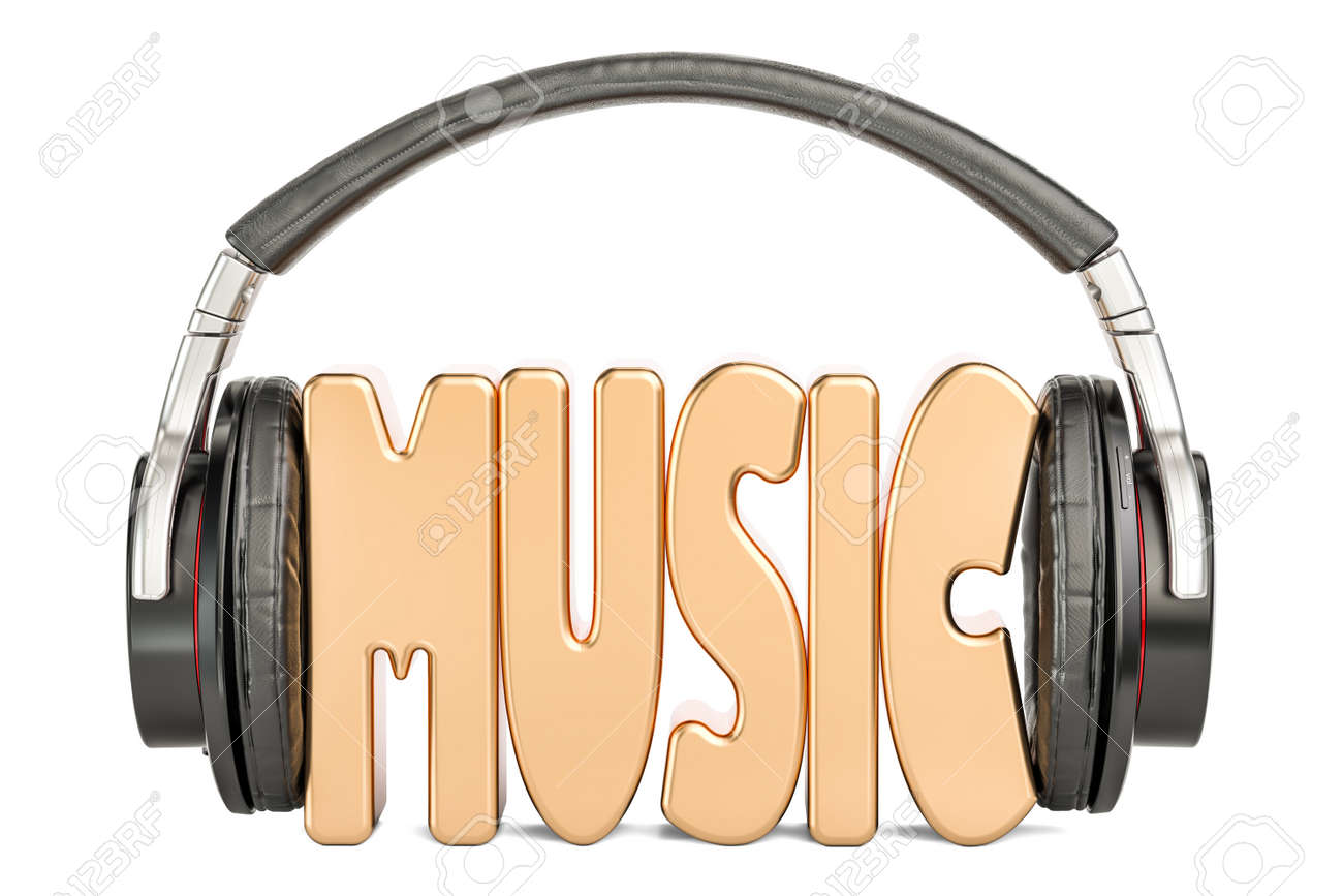 headphones with music word musical concept 3d rendering isolated