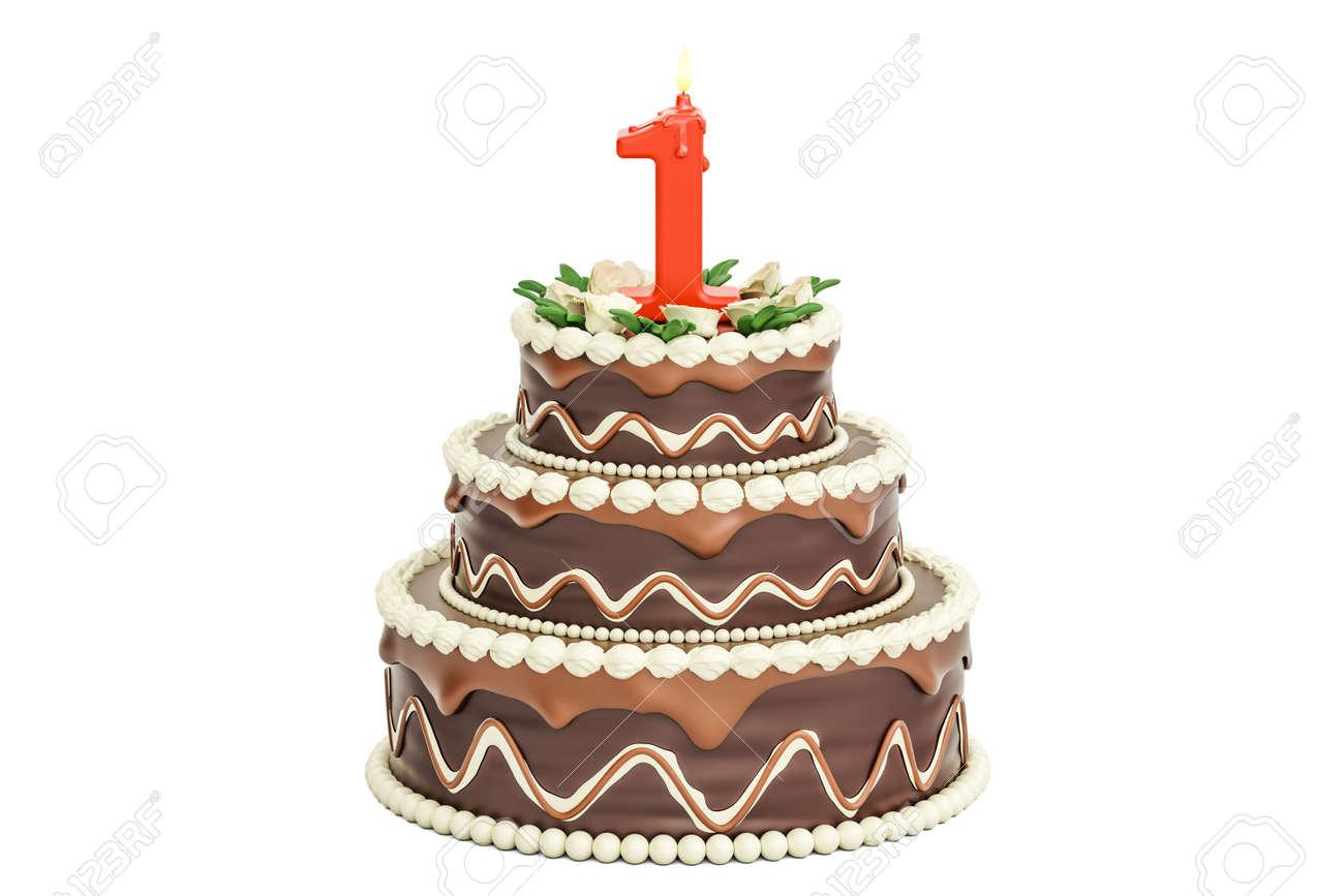 Gâteau D Anniversaire Au Chocolat Avec Bougie Numéro 1 Rendu 3d Isolé Sur Fond Blanc