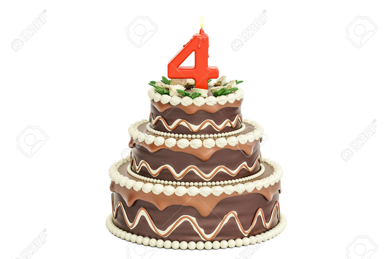 Chocolate Birthday Cake With Candle Number 4 3D Rendering Isolated On White Background Stock Photo