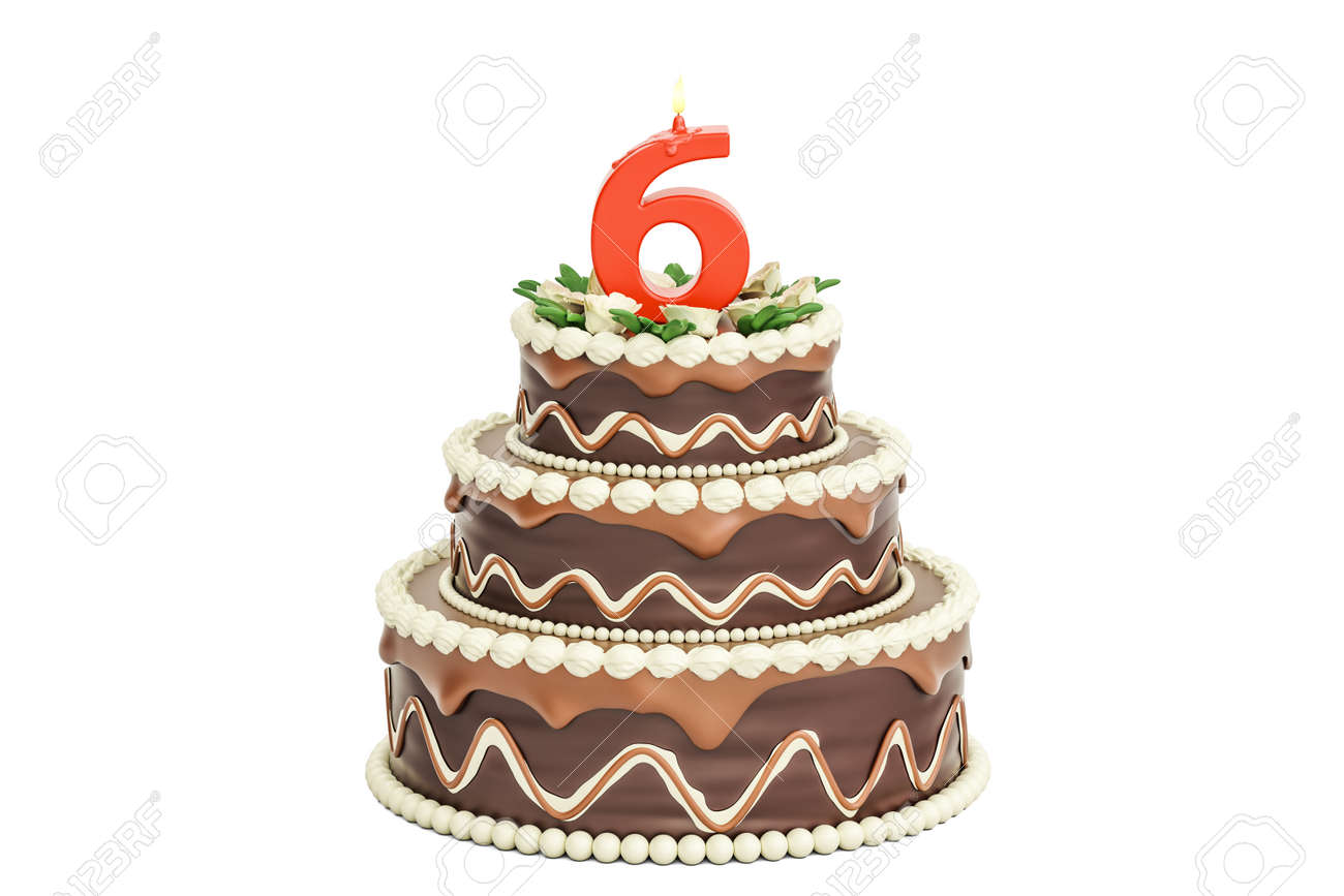 Cool Chocolate Birthday Cake With Candle Number 6 3D Rendering Funny Birthday Cards Online Alyptdamsfinfo
