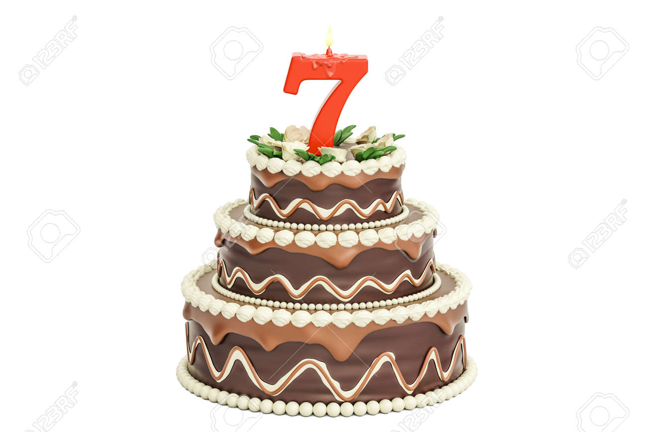 Chocolate Birthday Cake With Candle Number 7 3D Rendering Isolated On White Background Stock Photo