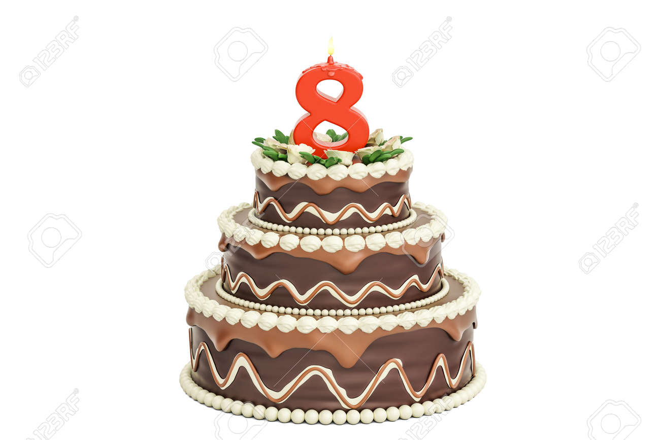 Chocolate Birthday Cake With Candle Number 8 3D Rendering Isolated On White Background Stock Photo
