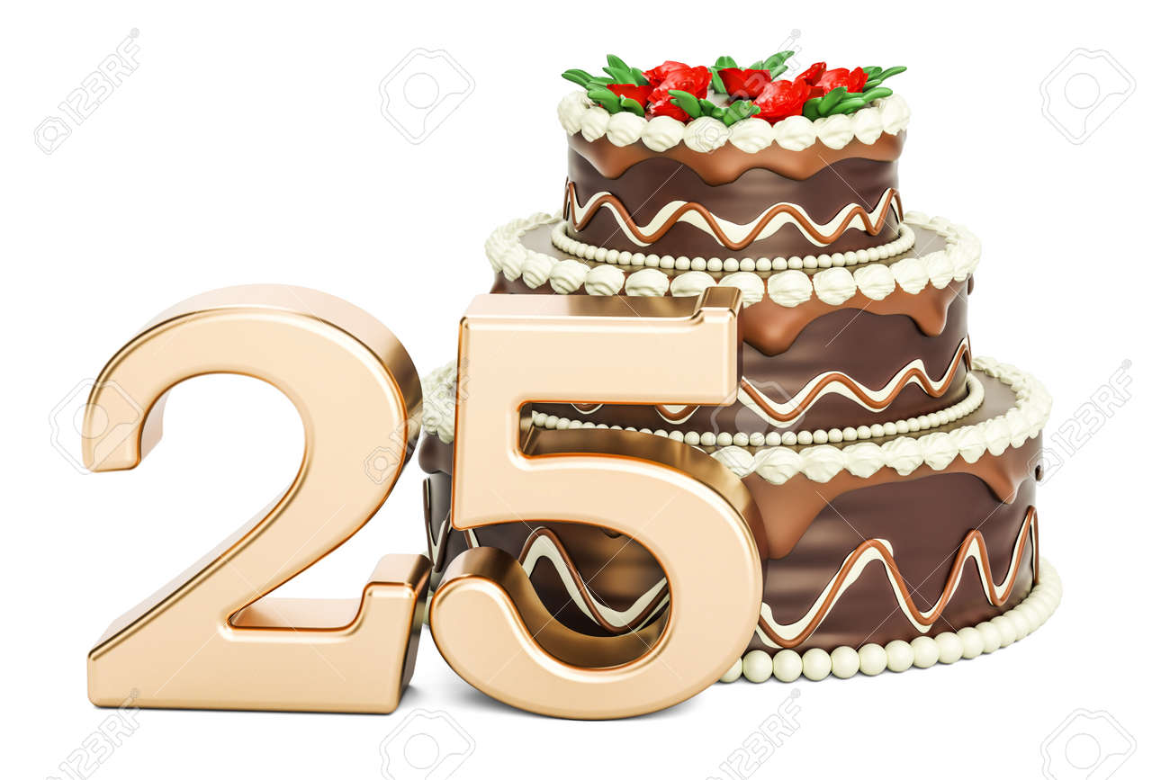 Marvelous Chocolate Birthday Cake With Golden Number 25 3D Rendering Funny Birthday Cards Online Alyptdamsfinfo