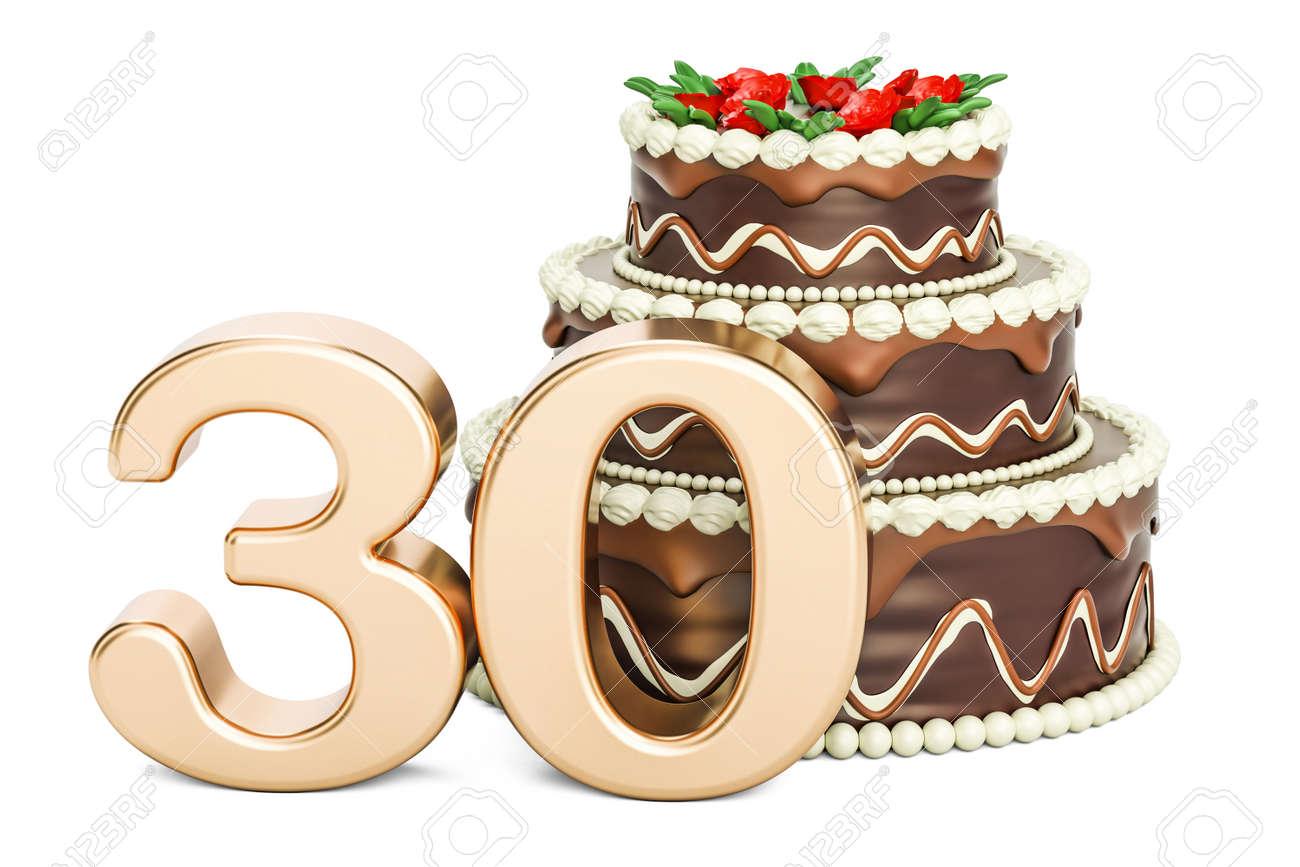 Schokoladen Geburtstagskuchen Mit Goldener Nummer 30 3d Rendering