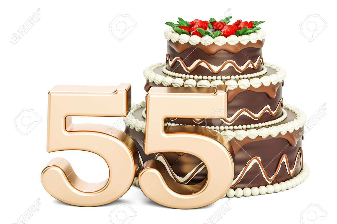 Chocolate Birthday Cake With Golden Number 55, 3D Rendering Isolated ...