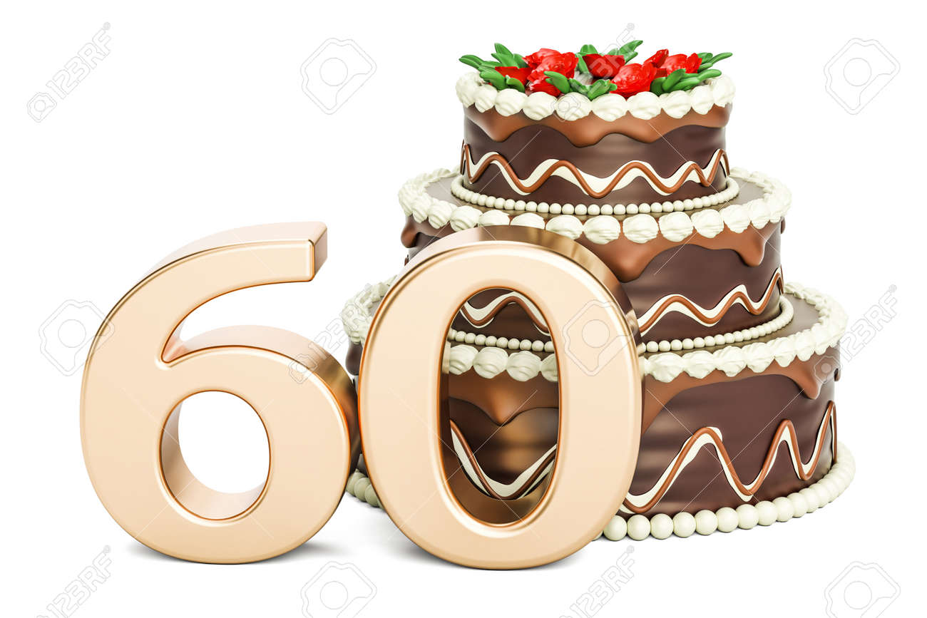 Chocolate Birthday Cake With Golden Number 60 3D Rendering Isolated On White Background Stock Photo