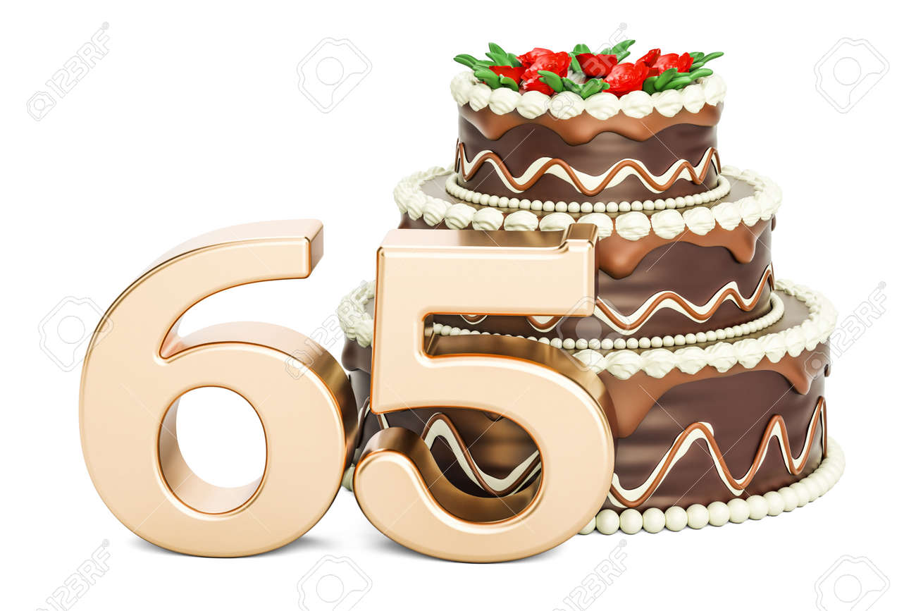 Chocolate Birthday Cake With Golden Number 65 3D Rendering Isolated On White Background Stock Photo