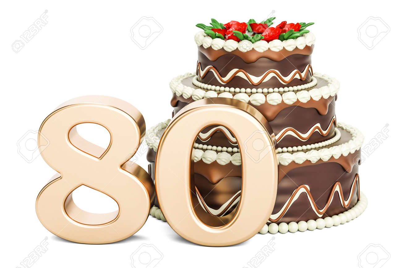 Chocolate Birthday Cake With Golden Number 80 3D Rendering Isolated On White Background Stock Photo