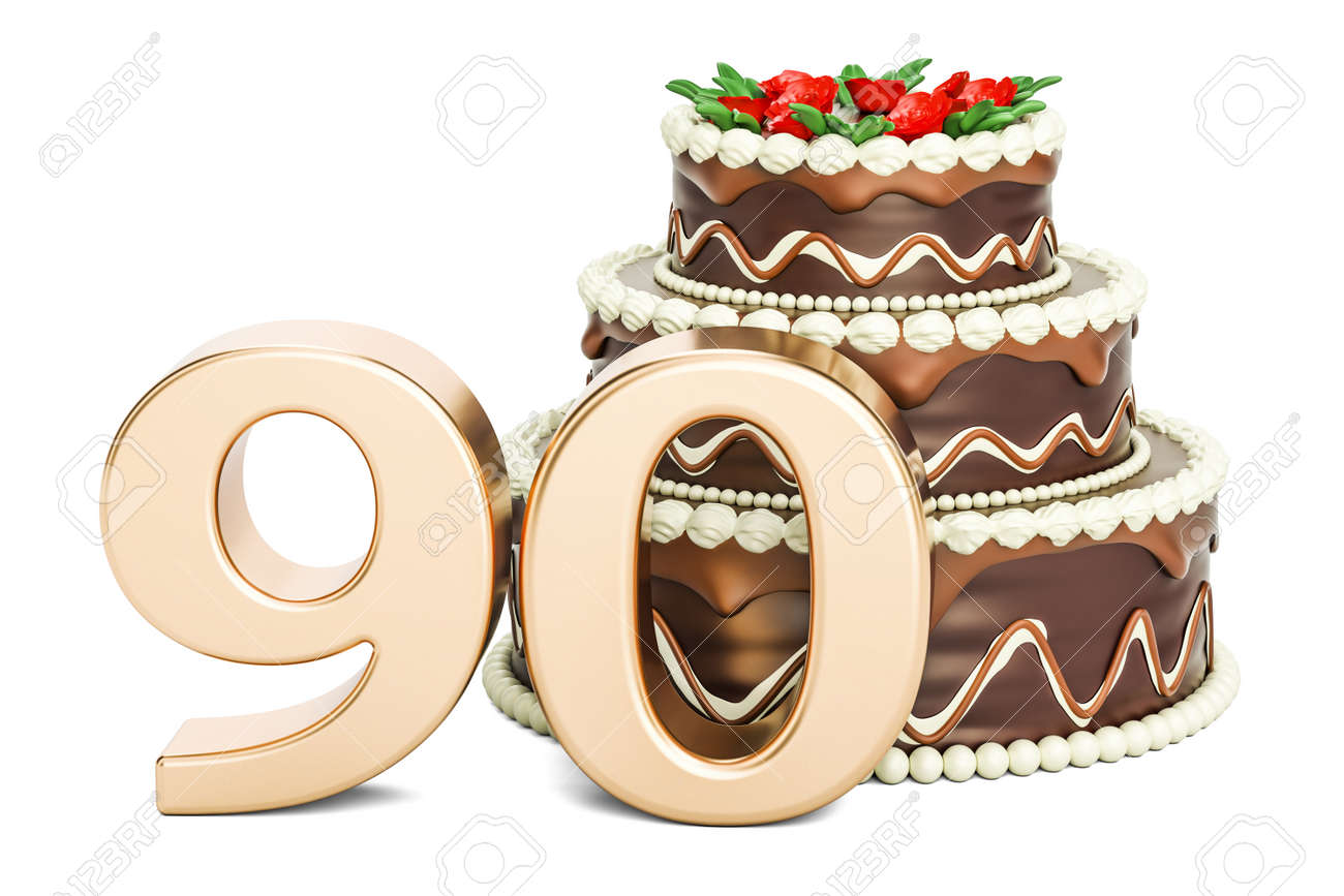 Chocolate Birthday Cake With Golden Number 90 3d Rendering Isolated