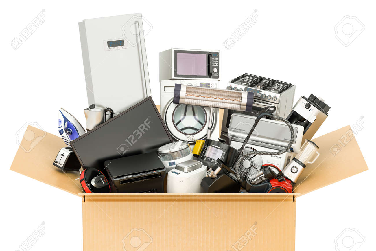 Cardboard Box With Household And Kitchen Appliances Shopping Stock Photo Picture And Royalty Free Image Image 82978472