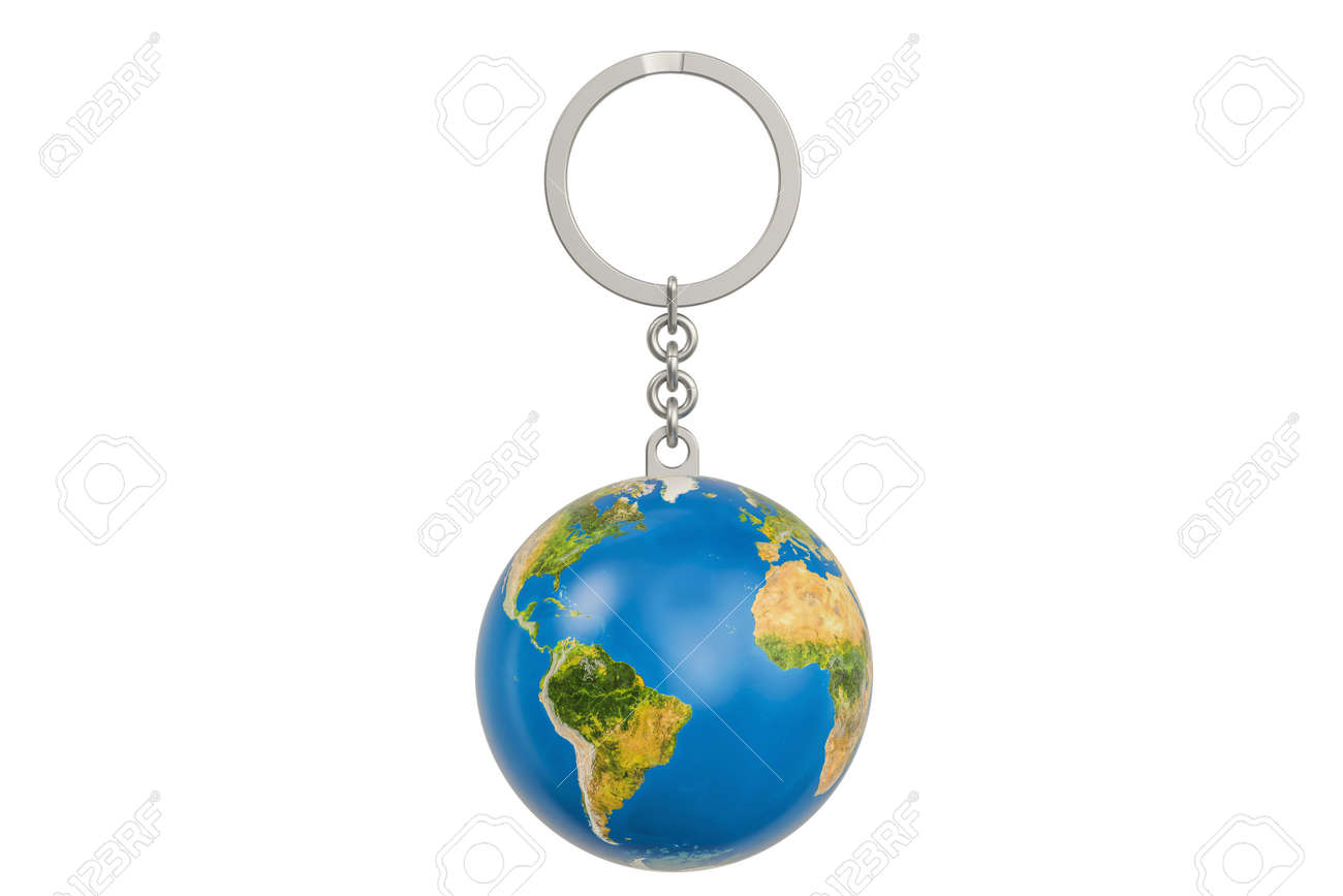 Keychain with a globe earth 3d rendering isolated on white keychain with a globe earth 3d rendering isolated on white background stock photo 83592579 gumiabroncs Image collections