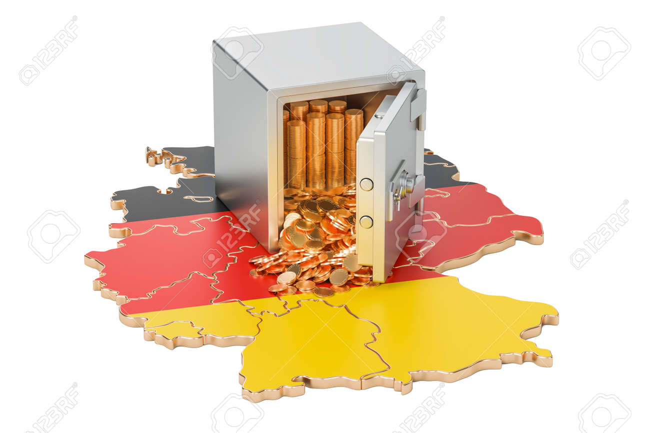 Map Of Germany 3d.Safe Box With Golden Coins On The Map Of Germany 3d Rendering Stock