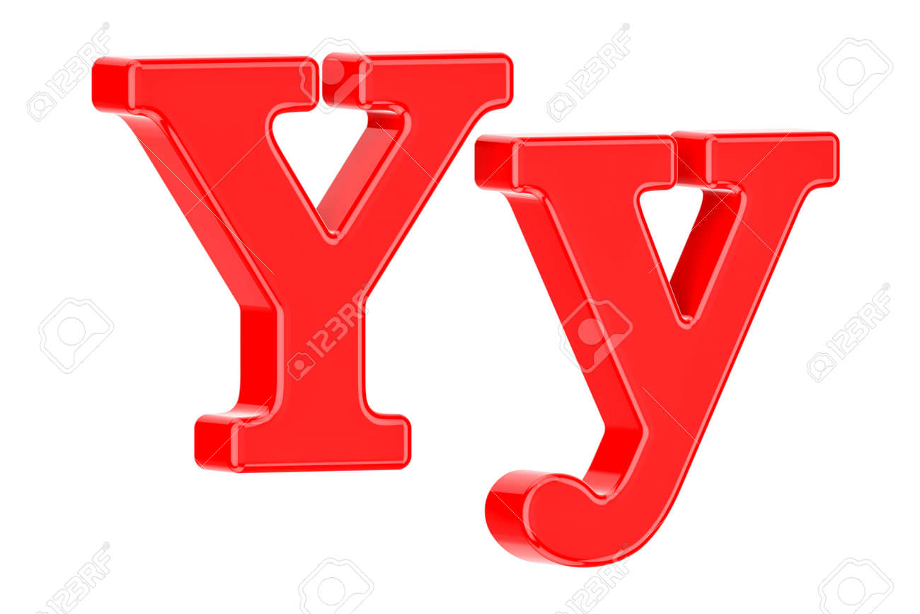 English red letter Y, 3D rendering isolated on white background