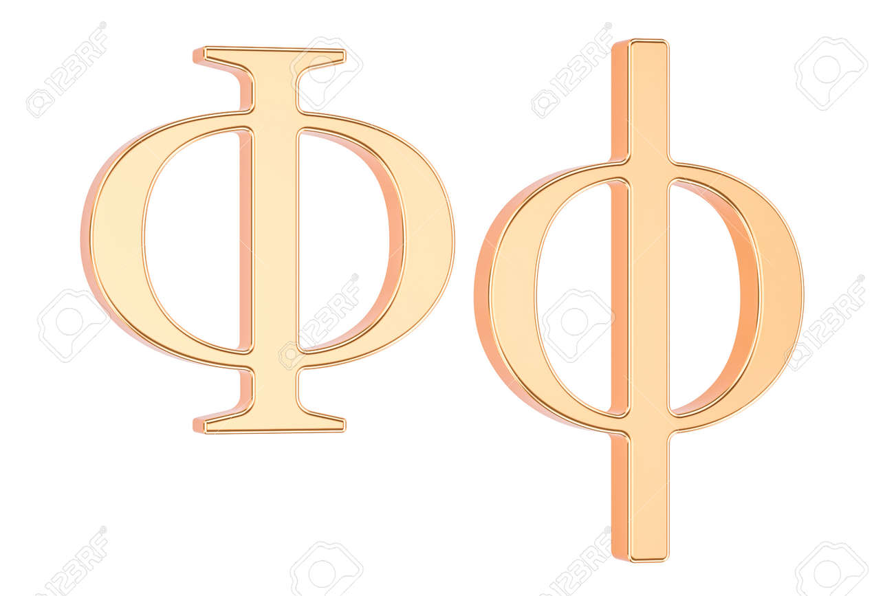 Golden Greek Letter Phi 3D Rendering Isolated White Background