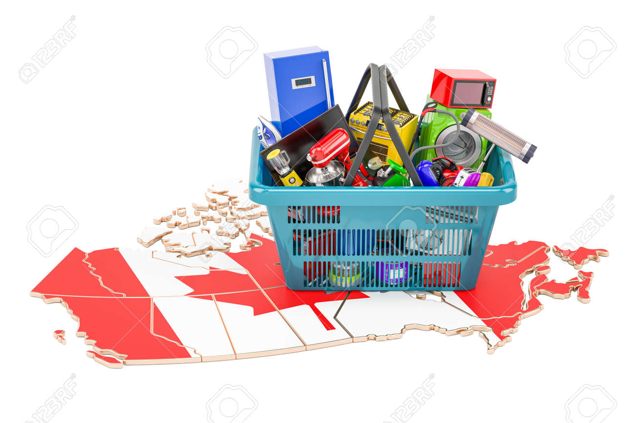 Map Of Canada With Shopping Basket Full Of Home And Kitchen ...