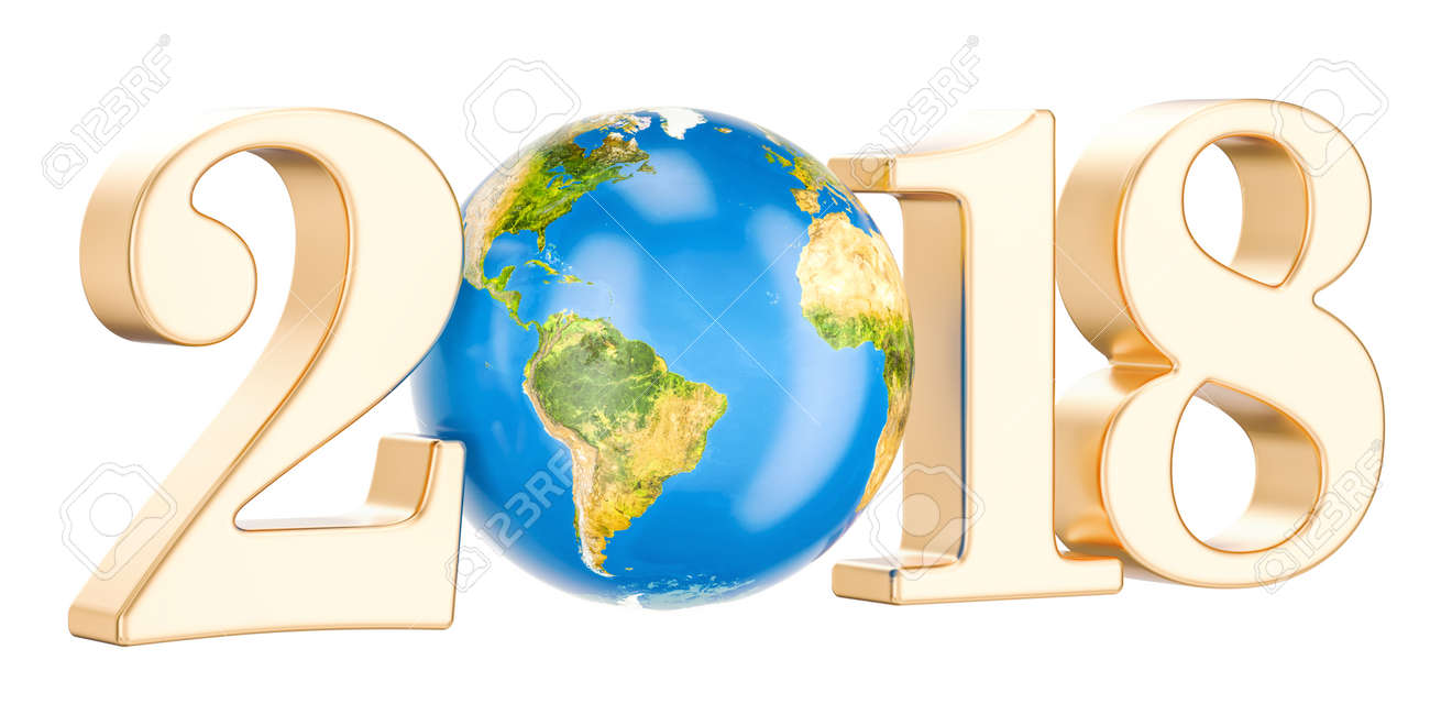 happy new year 2018 with earth concept 3d rendering stock photo 88885105