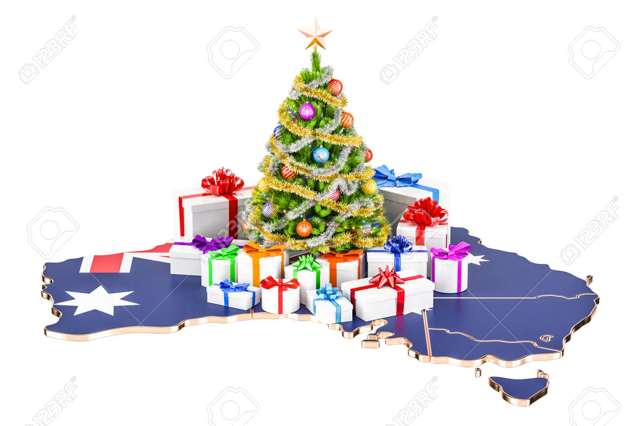 Christmas In Australia Background.Christmas And New Year Holidays In Australia Concept 3d Rendering