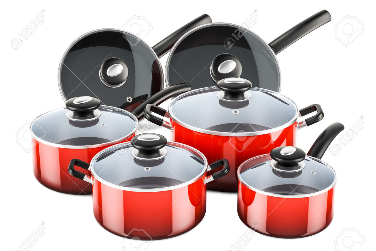 Superieur Set Of Cooking Red Kitchen Utensils And Cookware. Pots And Pans, 3D  Rendering Isolated