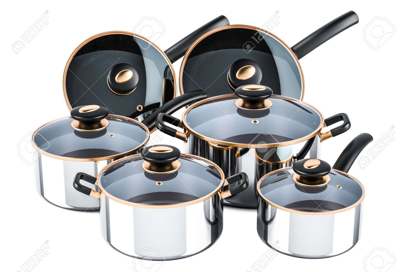 Set of cooking stainless steel kitchen utensils and cookware...