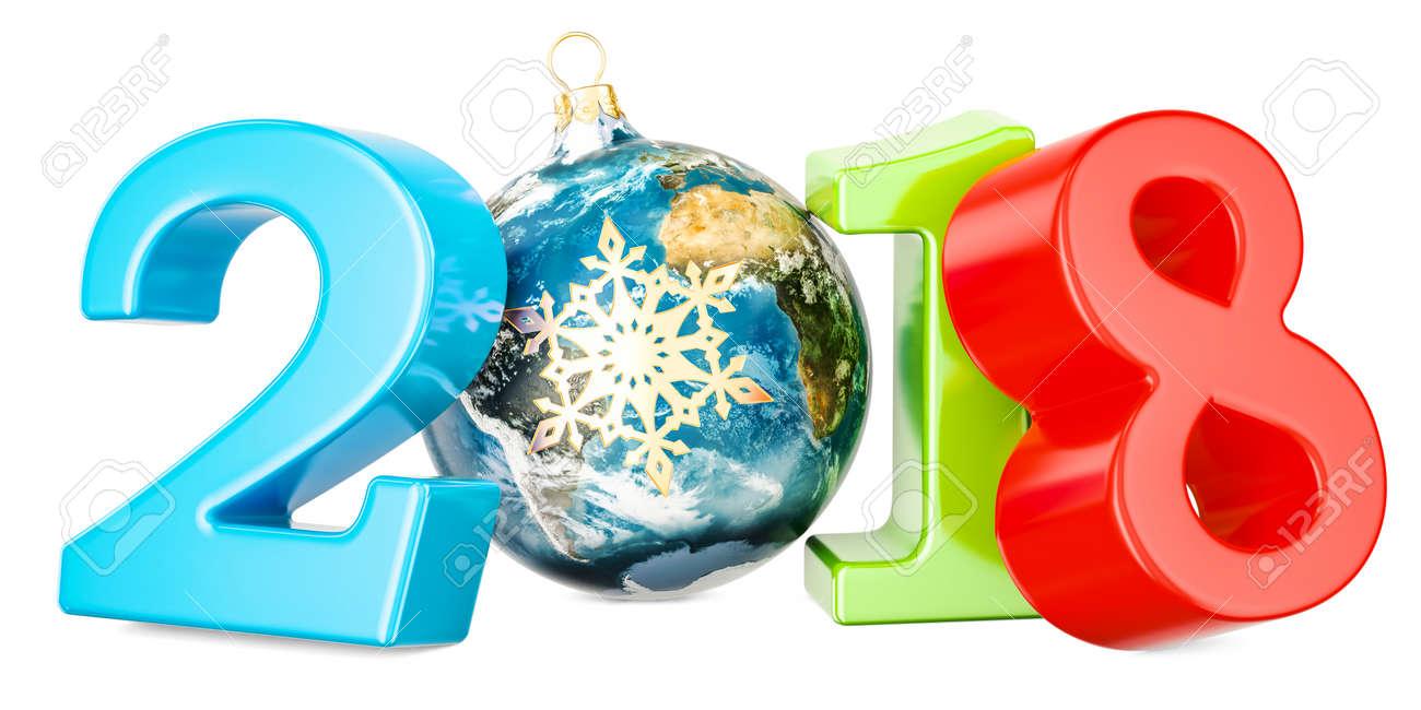 noel 2018 a la neige Bonne Année 2018 Avec Boule De Noël En Forme De Globe Terrestre Et  noel 2018 a la neige